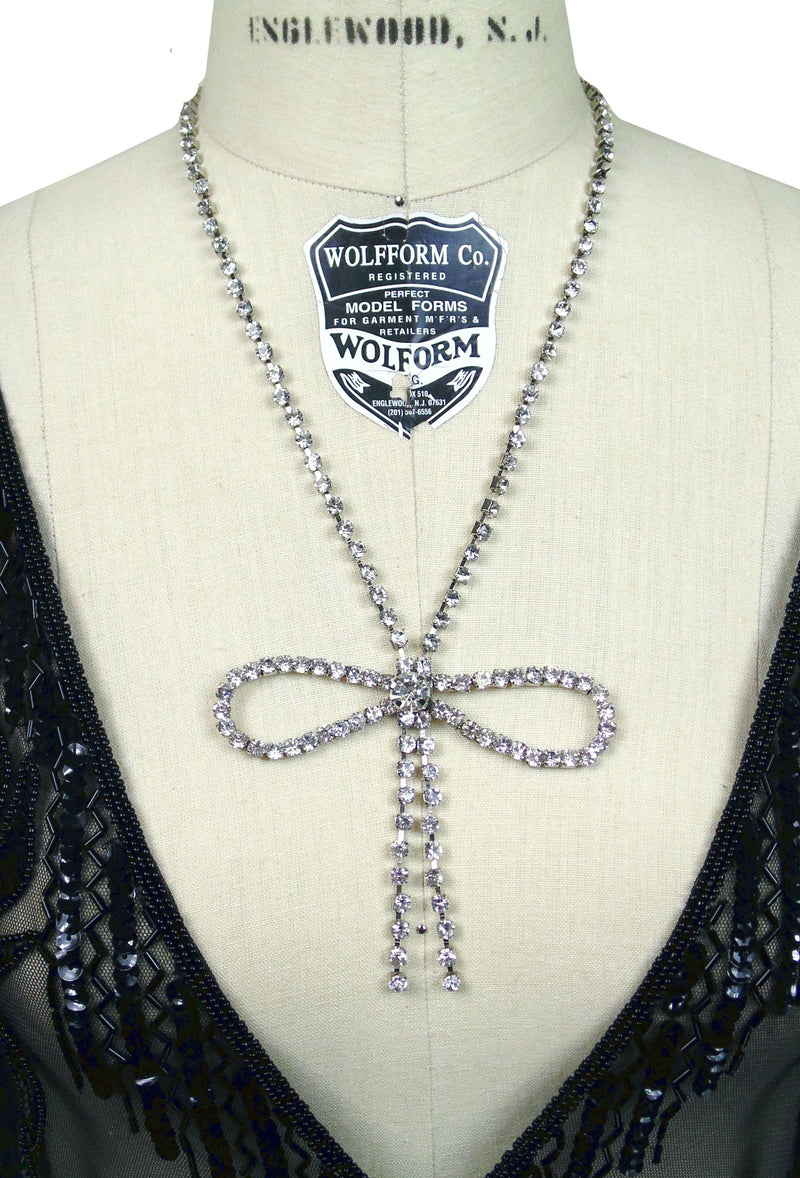 Hollywood Vintage Rhinestone Logo Deco Bow Necklace by The Deco Haus - The Deco Haus