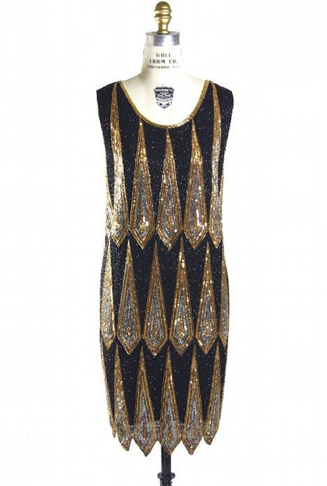 1920's Gatsby Deco Party Dress - The Ritz - Black - The Deco Haus
