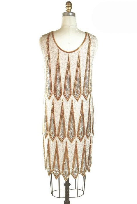 1920's Gatsby Deco Party Dress - The Ritz - Gold Ivory - The Deco Haus