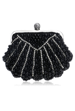 Romantic Cluster Pearl Vintage-Inspired Gatsby Wedding Purse - Black - The Deco Haus
