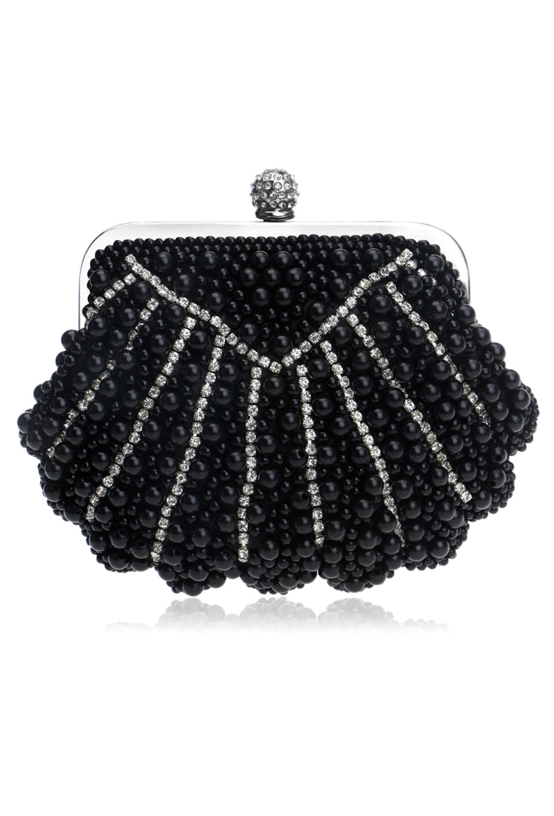 Romantic Cluster Pearl Vintage-Inspired Gatsby Wedding Purse - Black