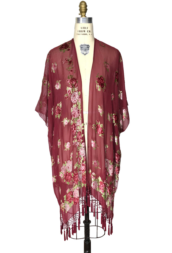 Luxury English Rose Silk Chiffon Tassel 20s Dressing Room Wrap - Burgundy Red - The Deco Haus