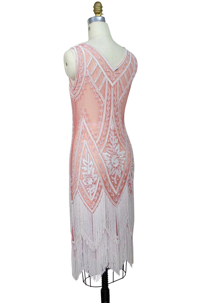 1920's Vintage Flapper Beaded Fringe Gatsby Gown - The Icon - Rouge Creme - The Deco Haus