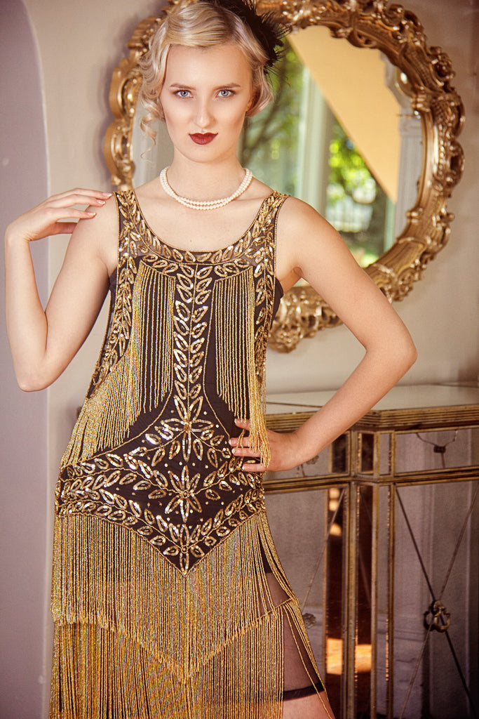 Vintage Inspired Cocktail Dresses, Party Dresses 1920s Flapper Fringe Gatsby Party Dress - The Roxy - Gold on Jet Black $399.95 AT vintagedancer.com