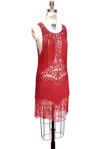 1920's Flapper Fringe Gatsby Party Dress - The Roxy - Red - The Deco Haus