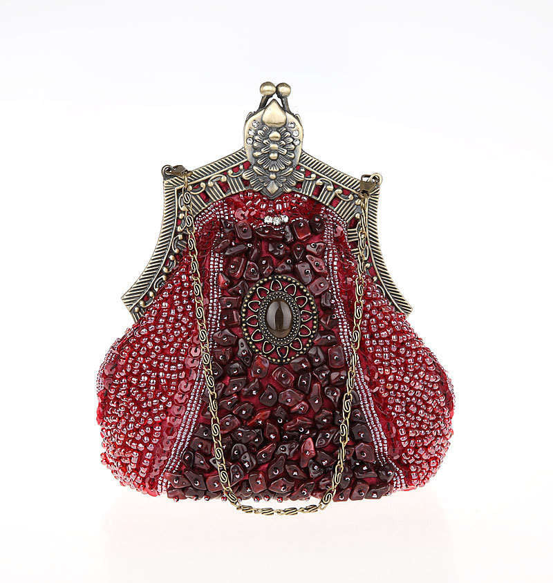 1920's Inspired Gatsby Beaded Teardrop Evening Purse - Red