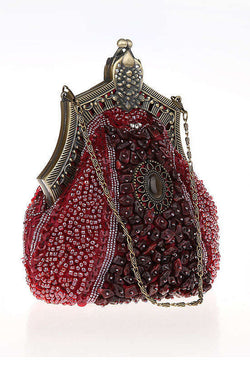 1920's Inspired Gatsby Beaded Teardrop Evening Purse - Red - The Deco Haus