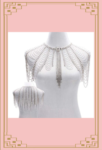 La Belle Epoque 1930s Glamour Party Capelet - Silver - The Deco Haus