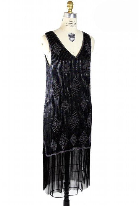 1920s Beaded Flapper Fringe Party Dress- The Savoy - Black Iridescent - The Deco Haus