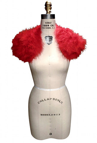 The Parisian Luxury Ostrich Feather Shrug Wrap - Scarlet
