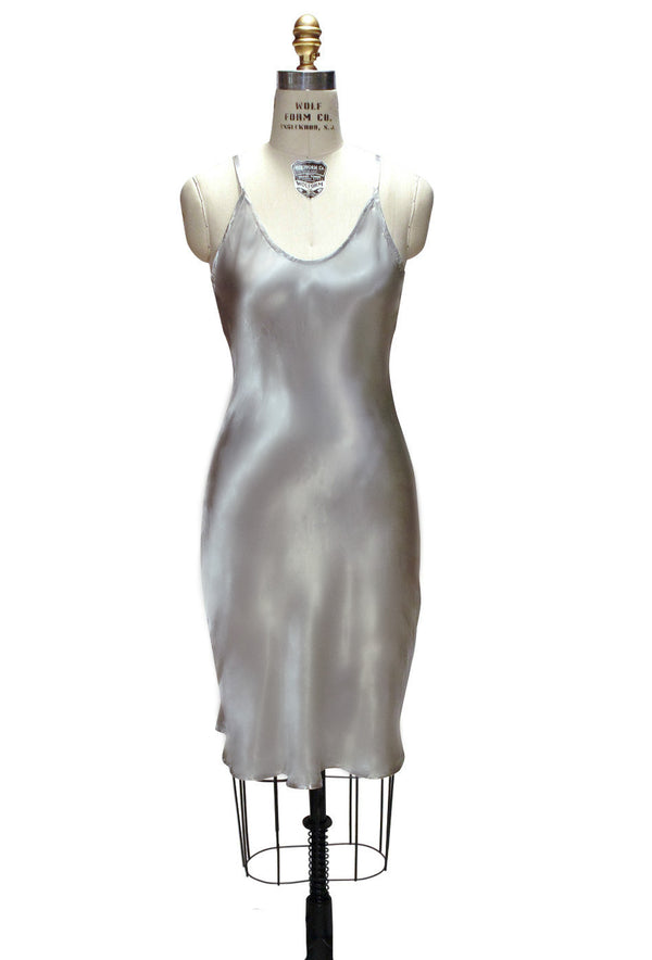1930's Style Satin Bias Gatsby Glamour Slip Dress - Silver - The Deco Haus