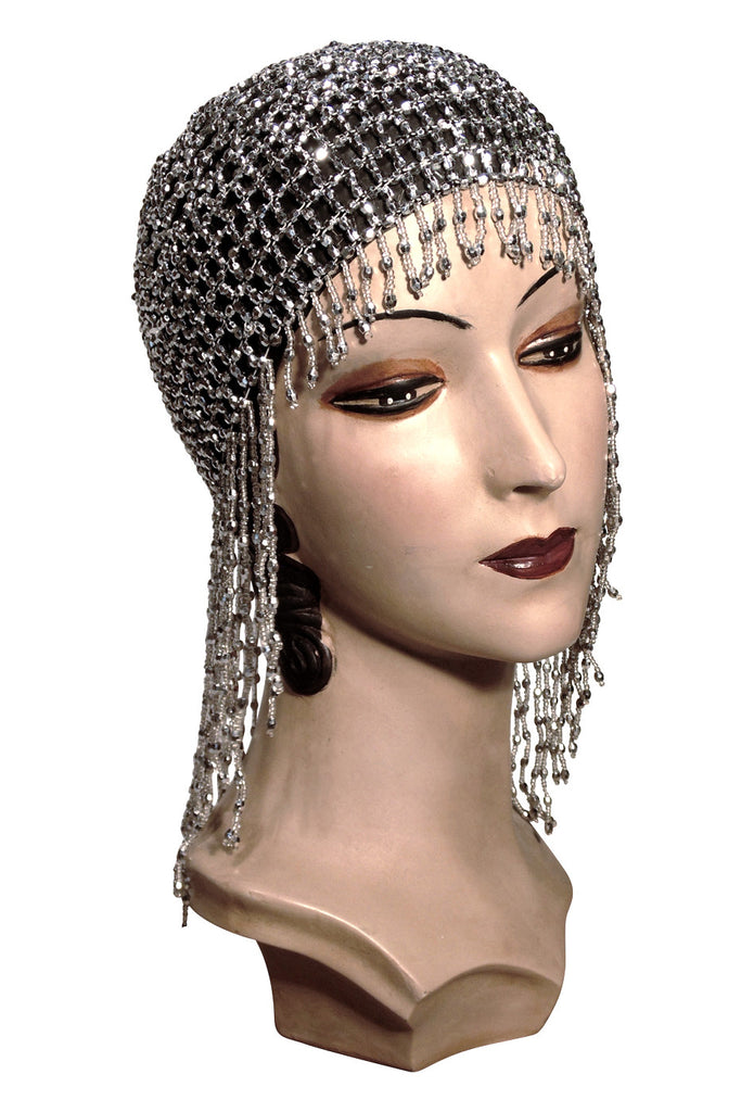 Vintage Hair Accessories: Combs, Headbands, Flowers, Scarf, Wigs The Jazz Baby Flapper Fringe 20s Party Cap - Silver $27.95 AT vintagedancer.com