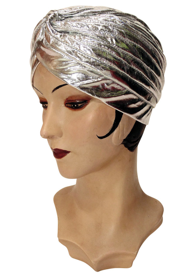 The Swanson 1920's Deco Evening Turban - Silver Lamé - The Deco Haus