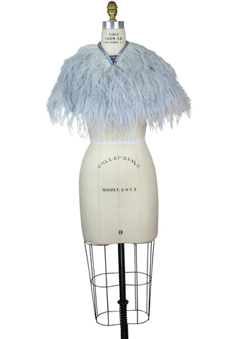 Ostrich Satin Hollywood Capelet - Silver