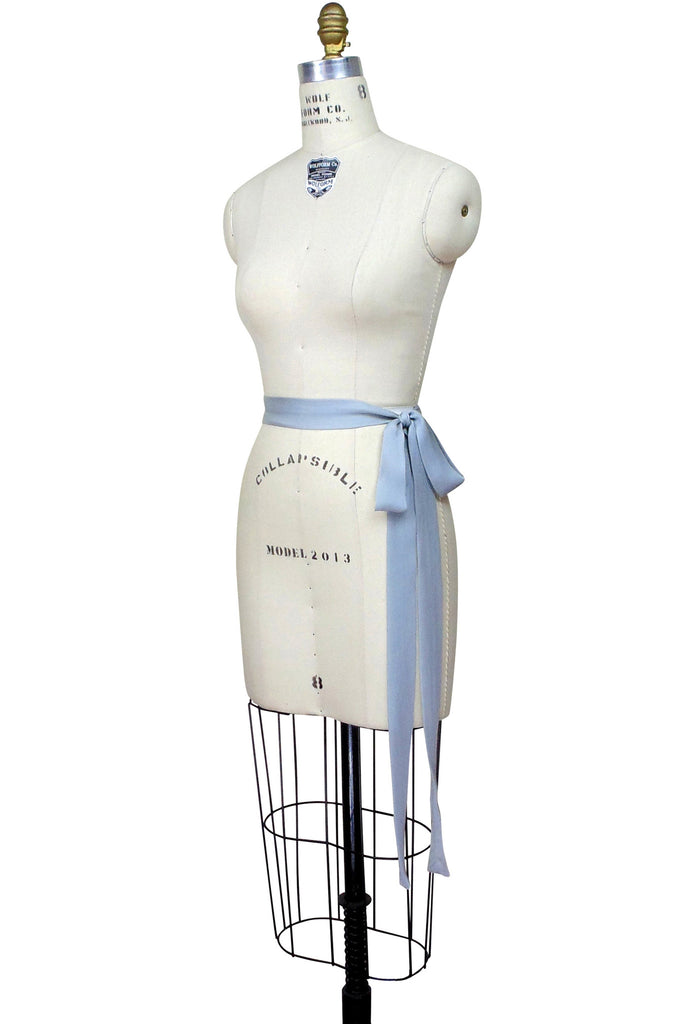 1920's Deco Gatsby Silk Belt Sash Baby Blue
