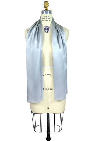 The Tuxedo Silk Satin Art Deco Shawl - Silver