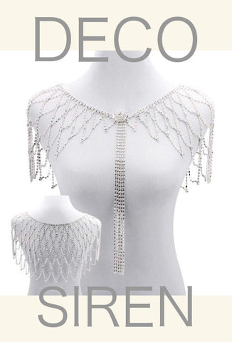 1930s Art Deco Crystal Glamour Wedding Capelet - The Deco Siren - Silver - The Deco Haus