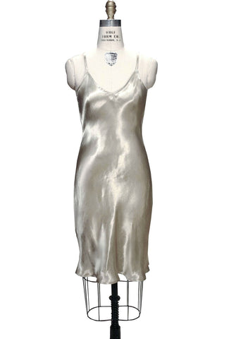 1930's Style Satin Bias Gatsby Glamour Slip Dress - Pale Gold - The Deco Haus