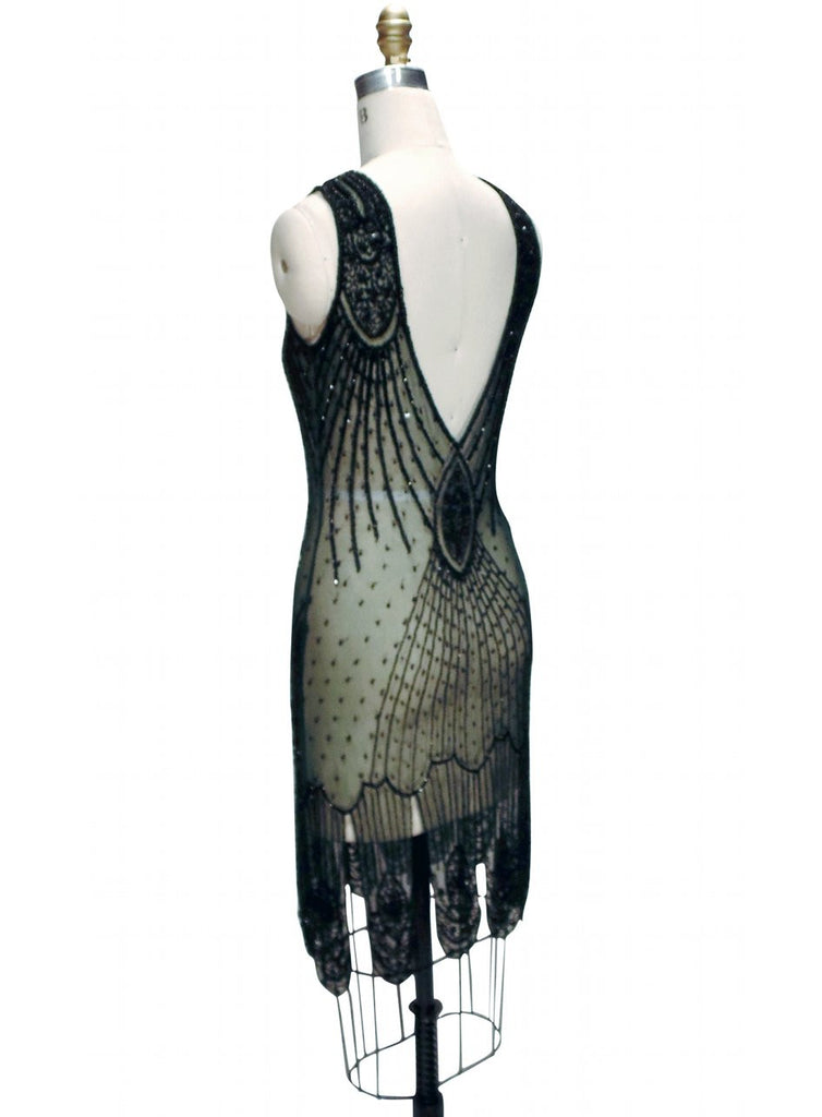 1920's Flapper Carwash Hem Beaded Party Dress - The Starlet - Bottle Green - The Deco Haus