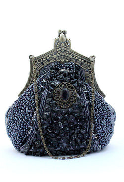 1920's Inspired Gatsby Beaded Teardrop Evening Purse - Pewter - The Deco Haus
