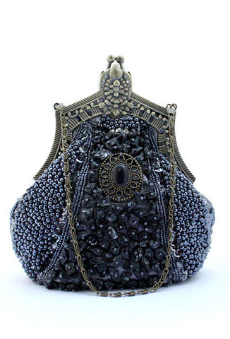 1920's Inspired Gatsby Beaded Teardrop Evening Purse - Pewter