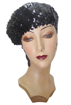 Super Chic Deco Sequin 1920's Style French Beret - Black - The Deco Haus