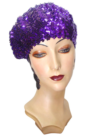 Super Chic Deco Sequin 1920's Style French Beret - Electric Purple