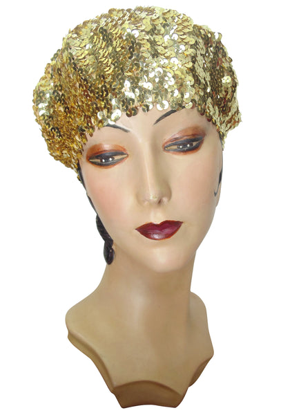 Super Chic Deco Sequin 1920's Style French Beret - Gold