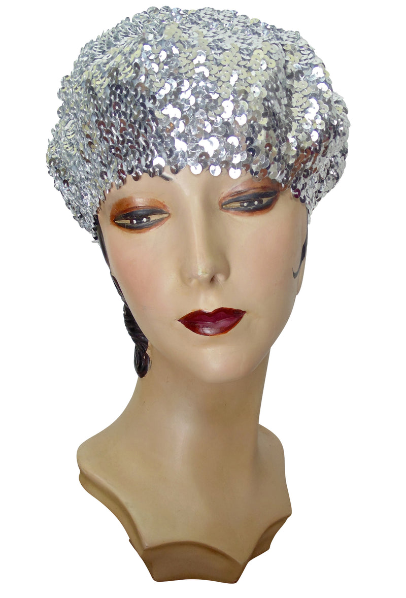 Super Chic Deco Sequin 1920's Style French Beret - Silver - The Deco Haus
