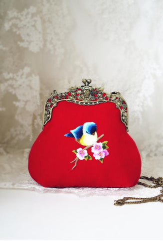Sweet Vintage Victorian Bird Antique Frame Purse - Red Wool