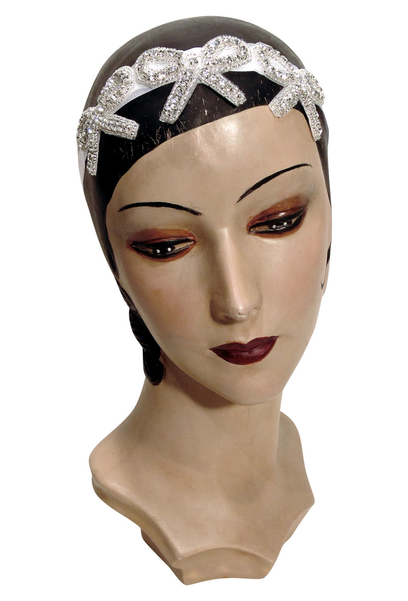 The Crystal Art Deco Flapper Bow Vintage Beaded Headband - The Deco Haus