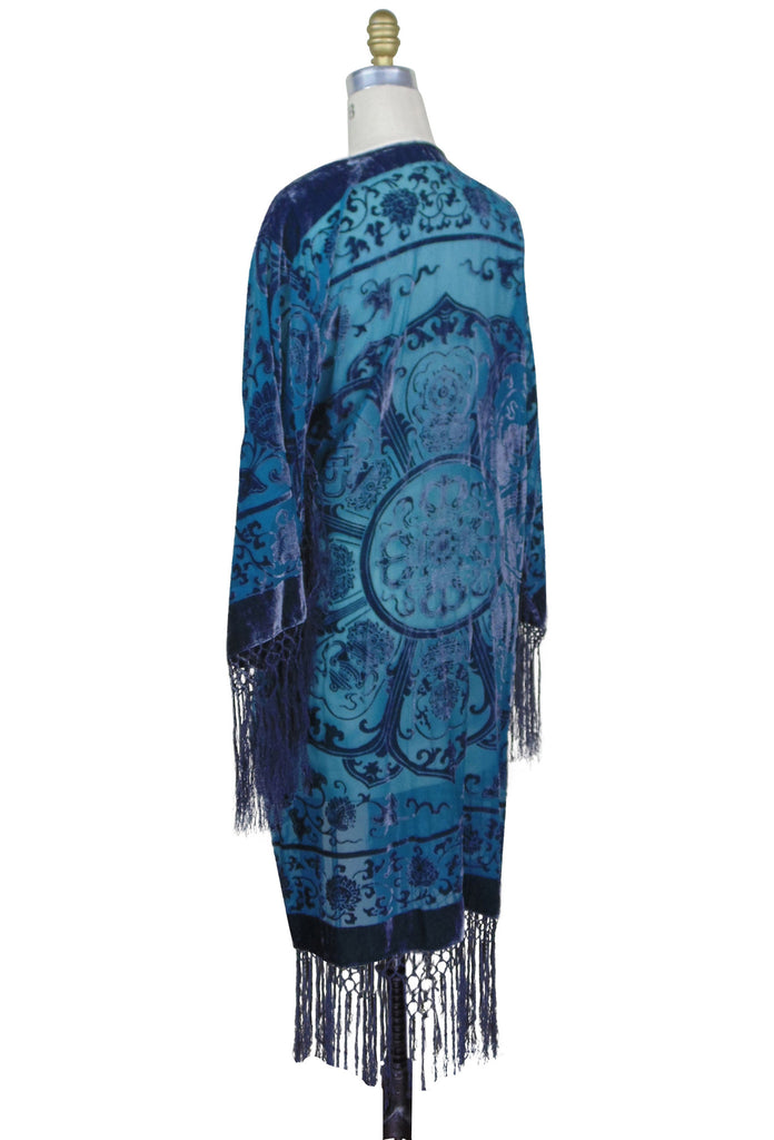 The 1930's Silk Velvet Art Deco Scarf Coat - Prussian Blue - The Deco Haus