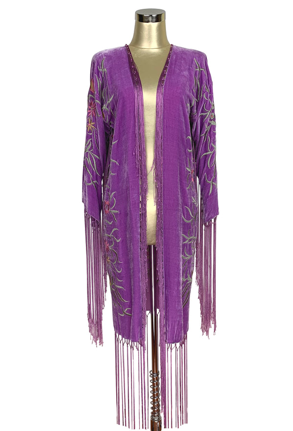 The 1920's Oriental Piano Velvet Embroidered Flamenco Lounging Robe - Antique Purple - The Deco Haus