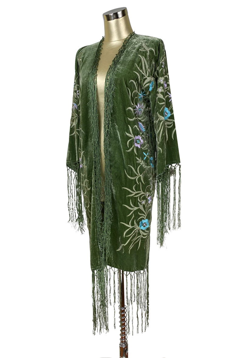 The 1920's Oriental Piano Velvet Embroidered Flamenco Lounging Robe - Antique Sage - The Deco Haus
