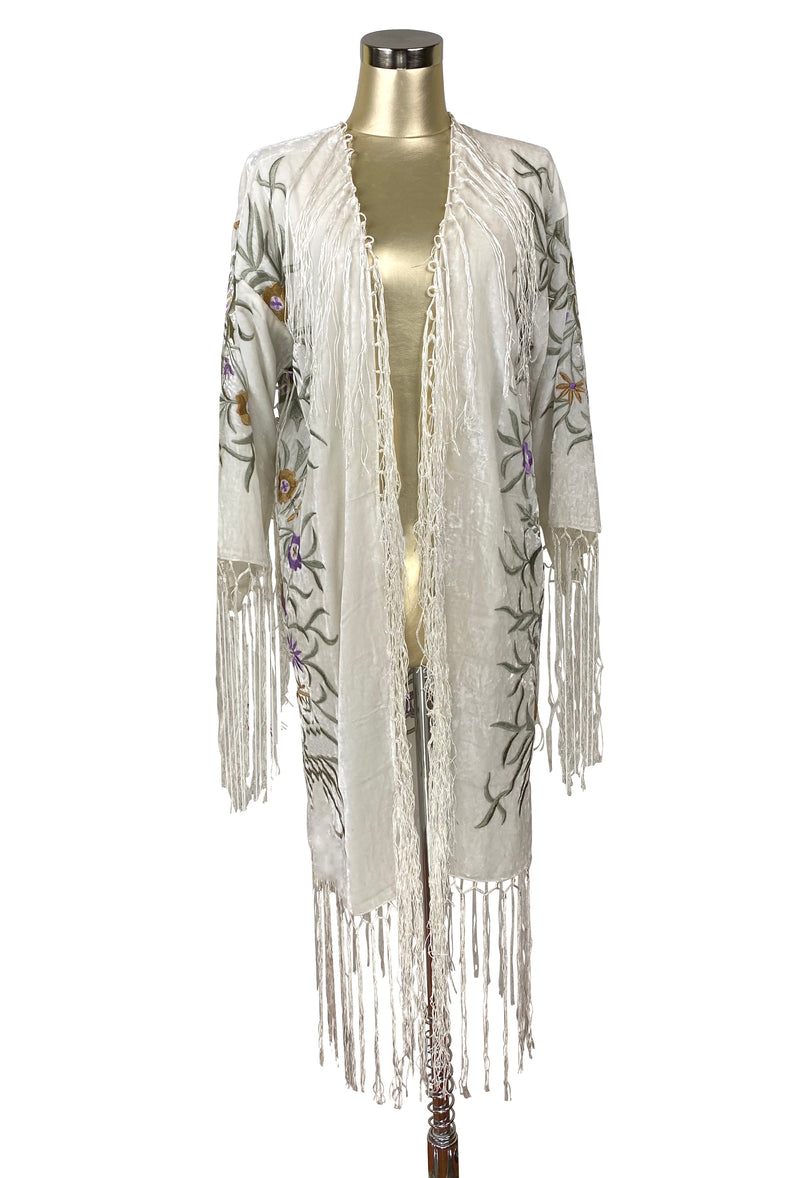 The 1920's Oriental Piano Velvet Embroidered Flamenco Lounging Robe - Antique White - The Deco Haus