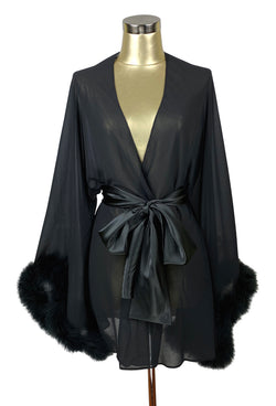 1940s Style Coats and Jackets for Sale THE 1930S OSTRICH GLAMOUR BOUDOIR LOUNGING ROBE - BLACK NOIR $174.95 AT vintagedancer.com