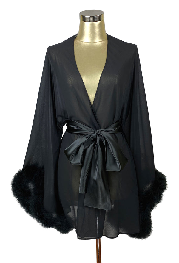 The 1930's Ostrich Glamour Boudoir Lounging Robe - Black Noir
