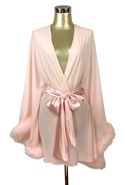 1920s Style Underwear, Lingerie, Nightgowns, Pajamas THE 1930S OSTRICH GLAMOUR BOUDOIR LOUNGING ROBE - BLUSH PINK $174.95 AT vintagedancer.com