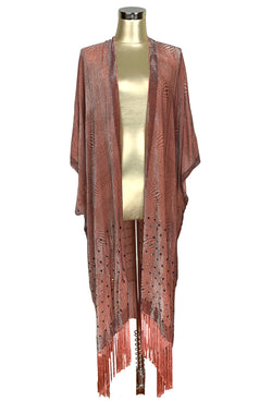 The Art Deco Geometric Burnout Silk Velvet Fringe 20s Evening Wrap - Terra Cotta - The Deco Haus