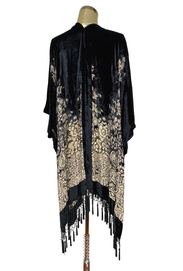 The Art Deco Mini Floral Silk Velvet Burnout Beaded Evening Wrap - Black
