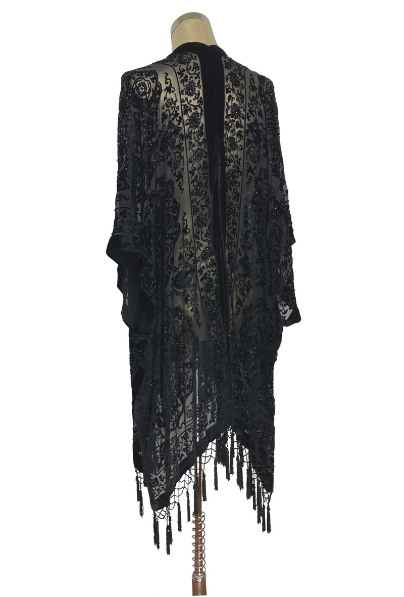 The Art Deco Renaissance Floral Silk Velvet Burnout Beaded Evening Wrap - Black