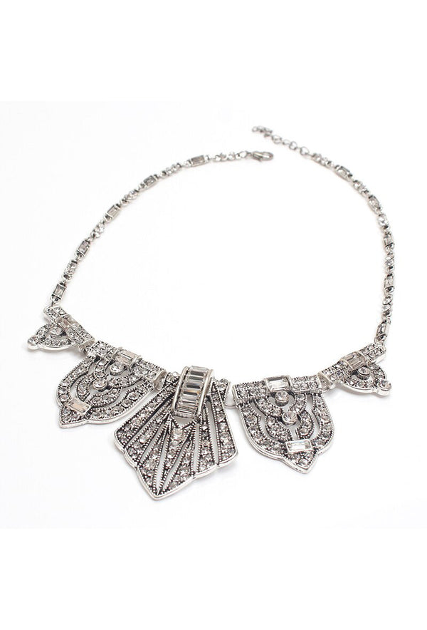 The Art Deco Statement Vintage Crystal Necklace - Silver - The Deco Haus