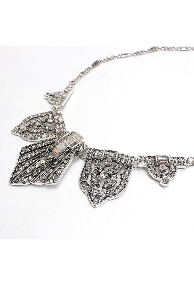 The Art Deco Statement Vintage Crystal Necklace - Silver