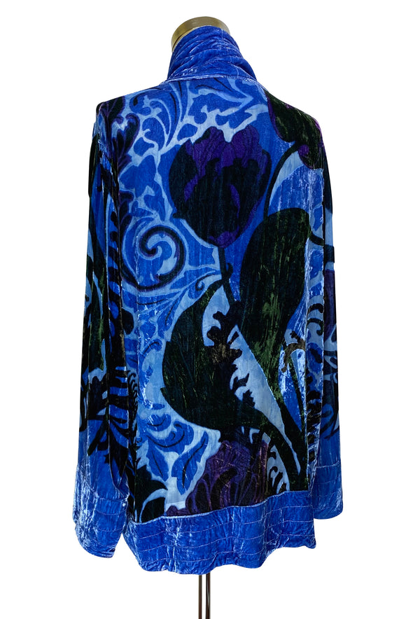 The Art Nouveau Silk Velvet Burnout 1920s Smoking Jacket - Cobalt Blue