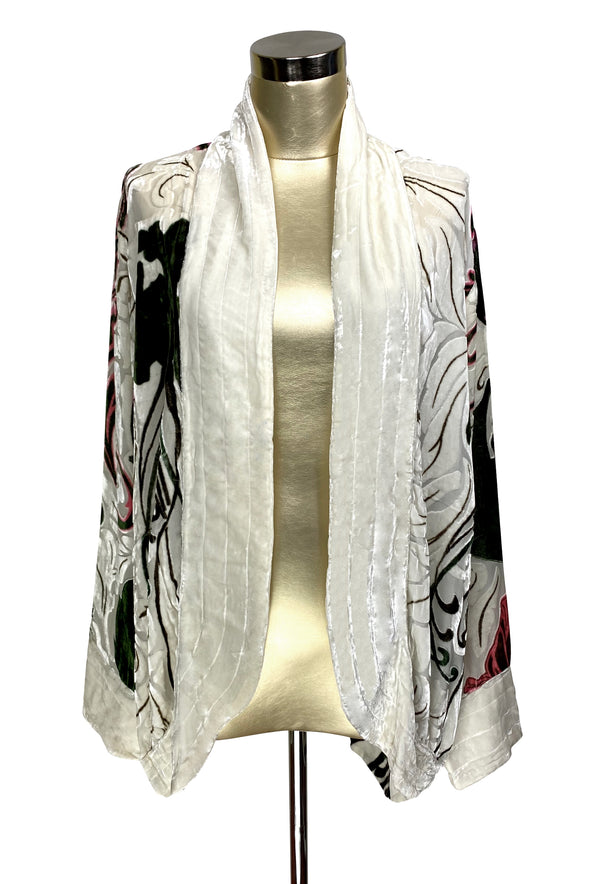 The Art Nouveau Silk Velvet Burnout 1920s Smoking Jacket - Ivory White
