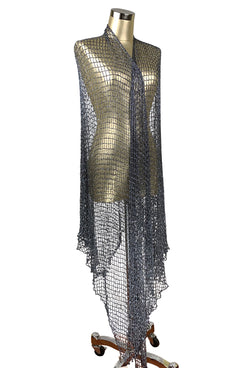 The Crystal Crochet Spider Web Vintage 1930's Evening Wrap - Gunmetal Grey - The Deco Haus
