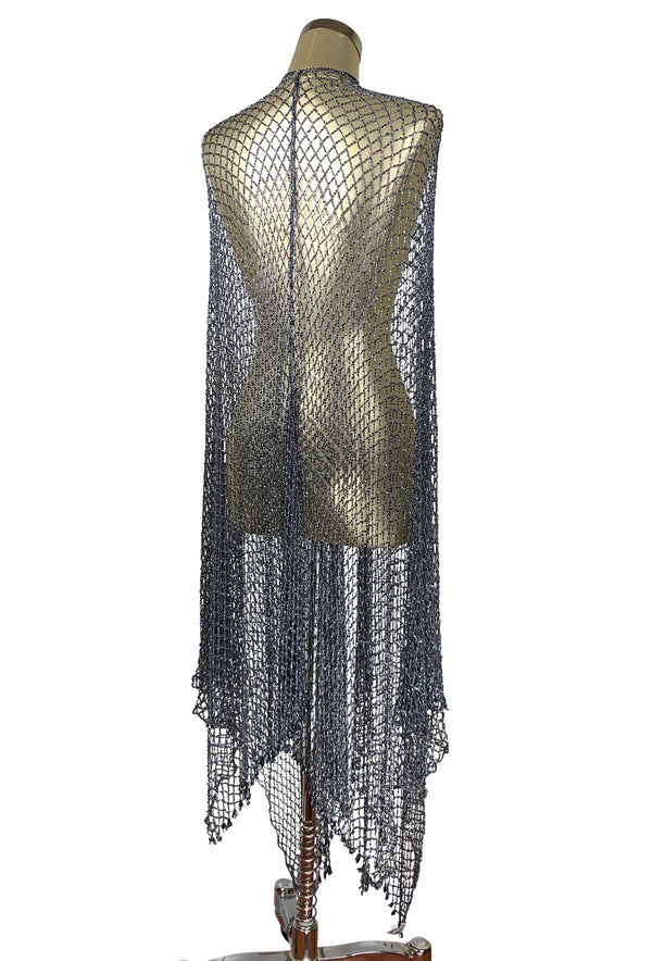The Crystal Crochet Spider Web Vintage 1930's Evening Wrap - Gunmetal Grey