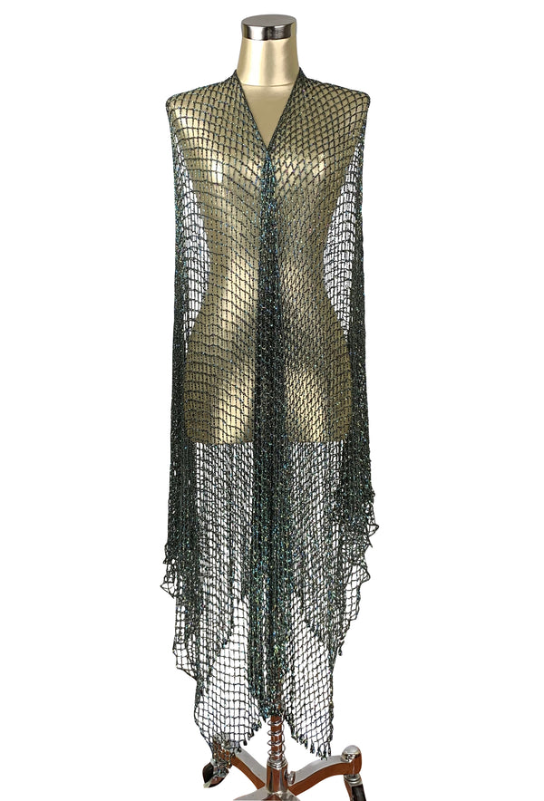The Crystal Crochet Spider Web Vintage 1930's Evening Wrap - Nile Green