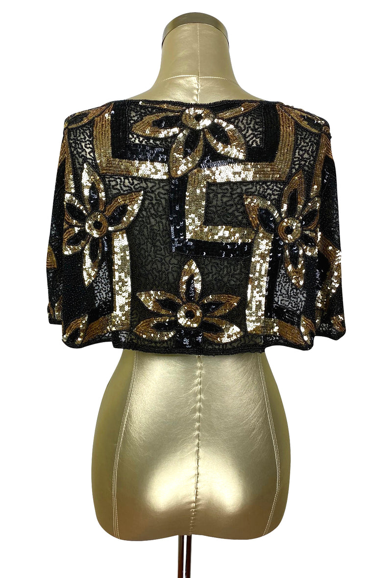 The Deco Luxe Sequin Beaded Vintage 1930's Capelet - The Deco Haus