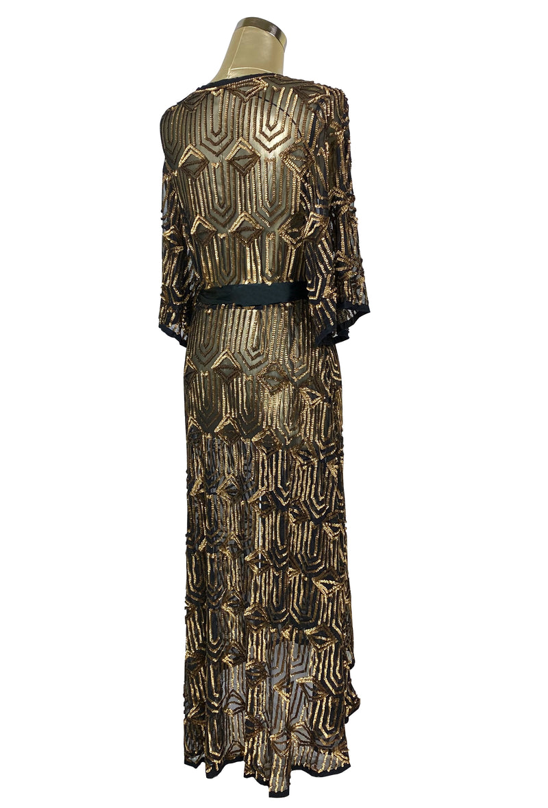 The Femme Fatale 1920s Glamour Vintage Wrap Dress - Antique Gold on Kohl - The Deco Haus
